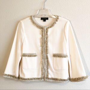 St. John Cream Knit Blazer Coat Cardigan, Sz 8